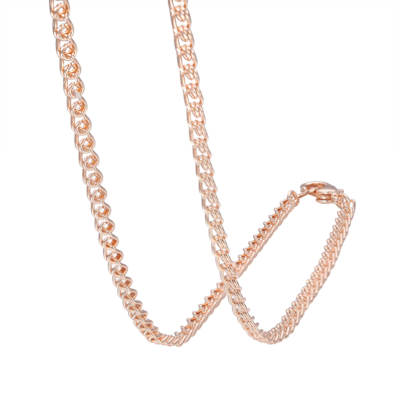3mm 5mm Wide Women Chain Men 585 Rose Gold Color Necklace Snail Jewelry