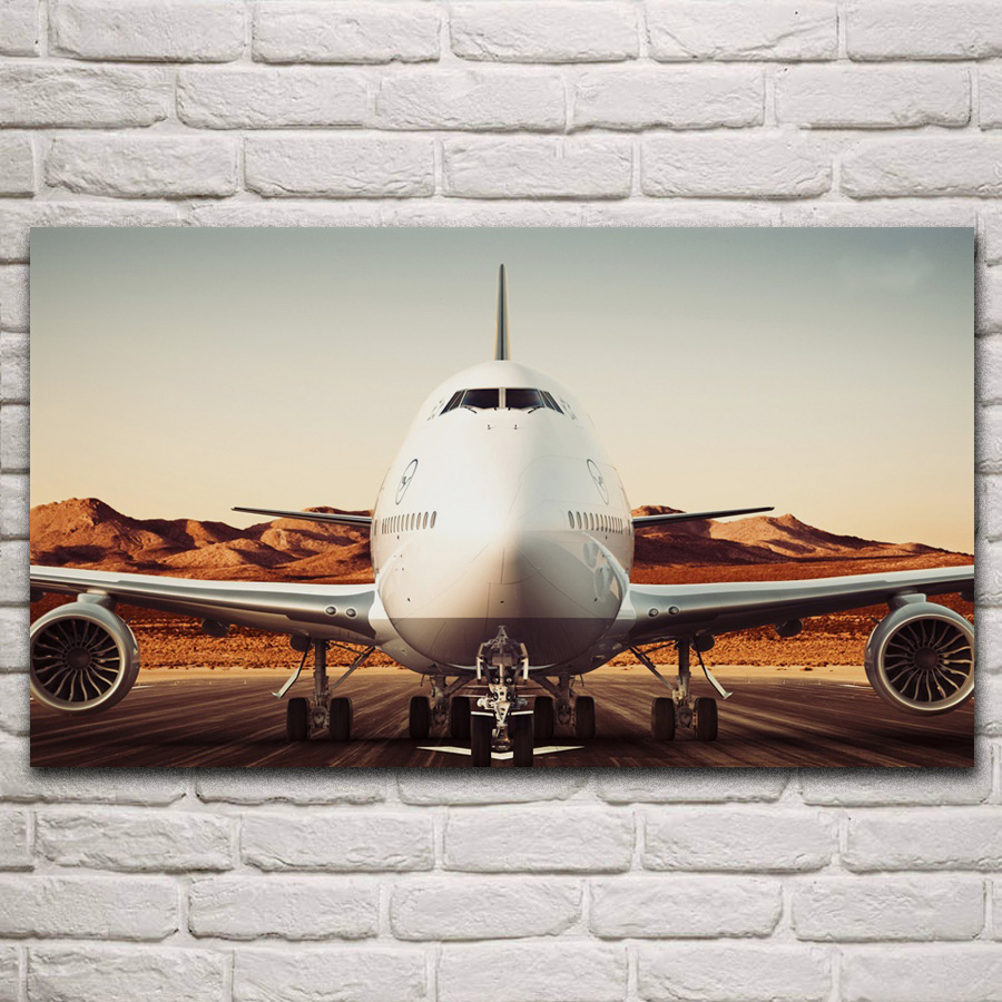 747 8 airliner huge passenger aircraft airplane artwork living room decoration home wall fabric art decor posters KM010 image