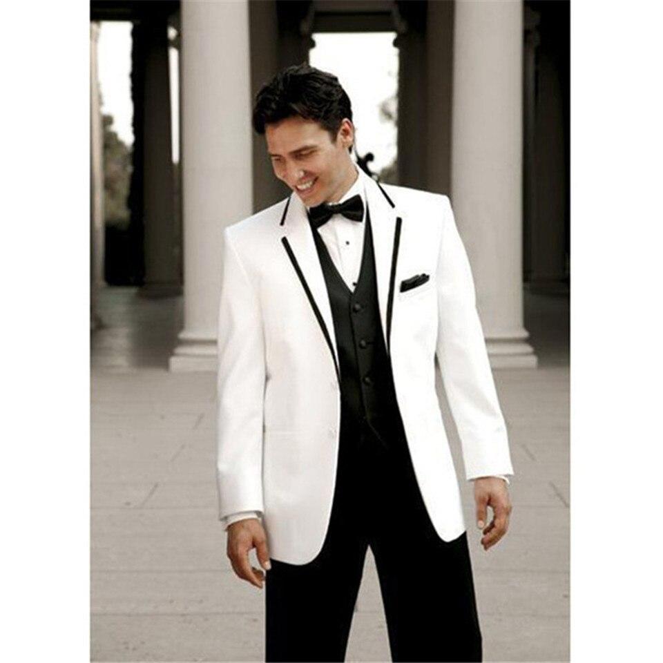 Nouveau marié blanc veste noir pantalon hommes costume terno masculino personnalisé 3 pièces affaires fumer hommes costumes (vestes + pantalons + gilet)
