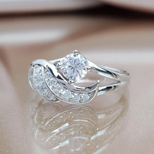 Women's Ring Jewelry Zircon Electroplating Angel-Wings Rhinestone Silver-Color New-Fashion
