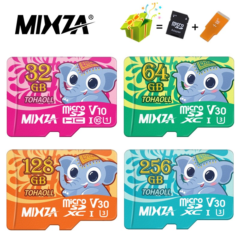 MIXZA Elephant Memory Card 256GB 128GB 64GB U3 80MB/S 32GB Micro Sd Card Class10 UHS-1 Flash Card Memory Microsd TF/SD Cards