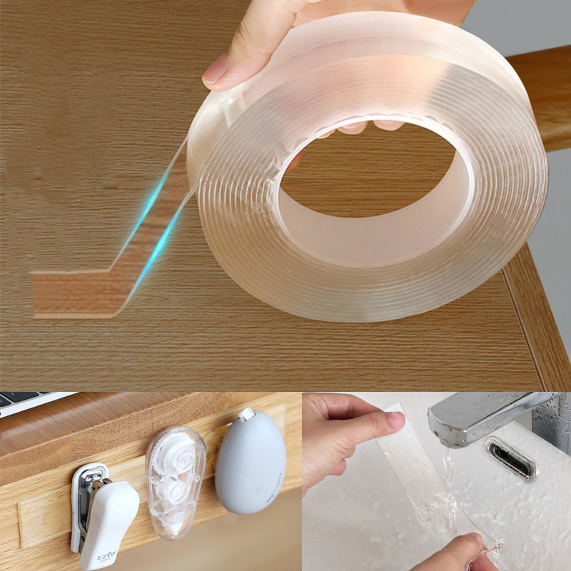1/3/5m Double-Sided Adhesive Nano Magic Tape Traceless Reusable Removable Sticker Washable Adhesive Home Improvement & Bathroom