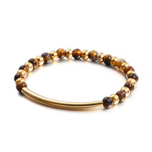 Men And Women Bracelet Elastic Rope Original Handmade Natural Stone Gold Color 316L Stainless Steel Bead Bangle For Couple Gift fashion zinc alloy paint maintains rainbow color men and women bracelet hand jewelry elastic rope metal bead bohe bracelet 2020
