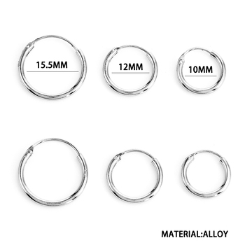 3 Pair/Set Fashion Women Girl Simple Round Circle Small Ear Stud Earring Punk Hip-hop Earrings Jewelry 3 Size 4