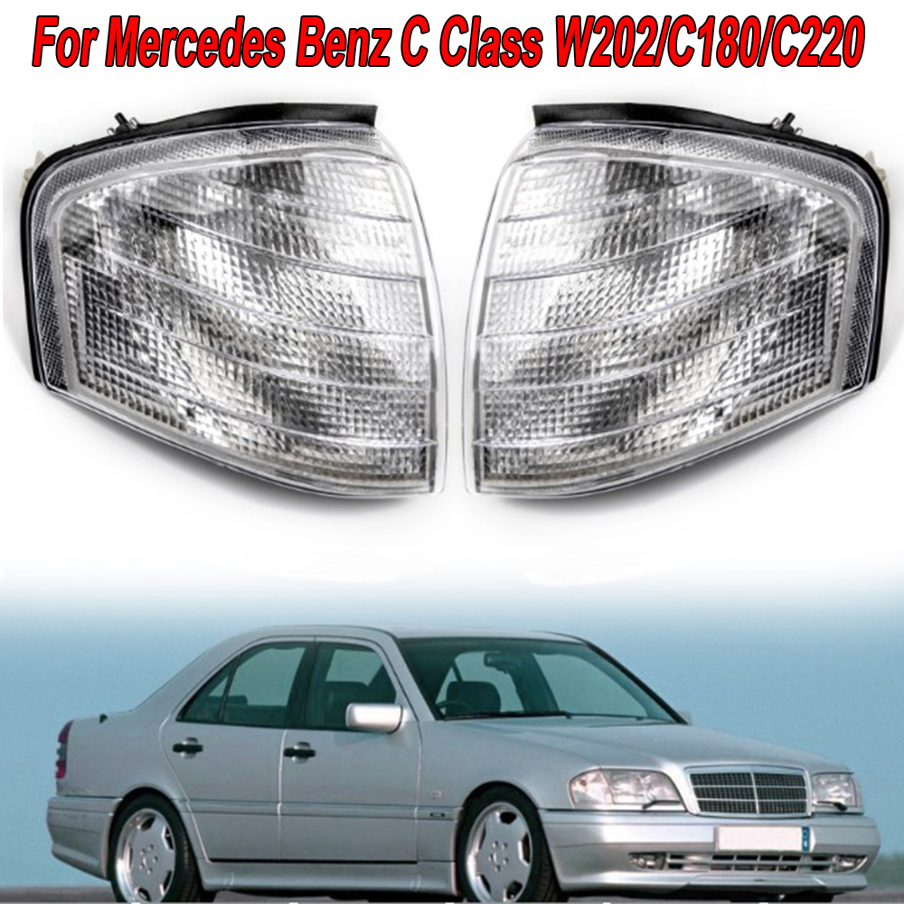 Exterior Turn Signal Lights 2pcs Car Lamp For Mercedes Benz C Class W202/C180/C220 White Replacement Bulb New