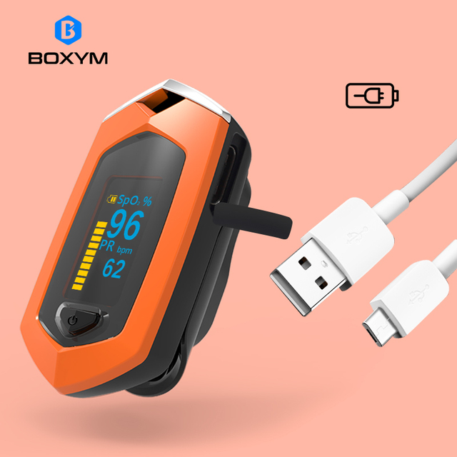 BOXYM Finger Pulse Oximeter Pulsioximetro SpO2 PR OLED Rechargeable CE Medical Oximetro De Dedo Heart Rate Monitor