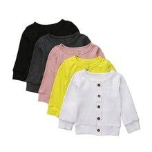 Вязаный кардиган с длинными рукавами для новорожденных мальчиков и девочек Милая одежда для малышей Топы на пуговицах для детей от 0 до 24 месяцев
