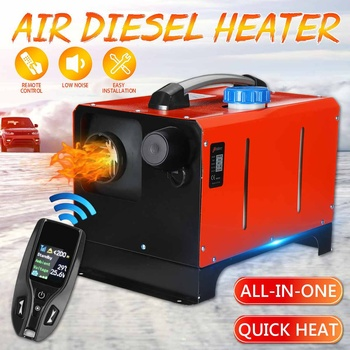 All in One Unit 1-8KW 12V Car Heating Tool Diesel Air Heater Single Hole LCD Monitor Parking Warmer For Car Truck Bus Boat RV new lcd switch single hole black car air heater 12v 2kw air diesels heater parking heater with muffler for rv boat trail truck