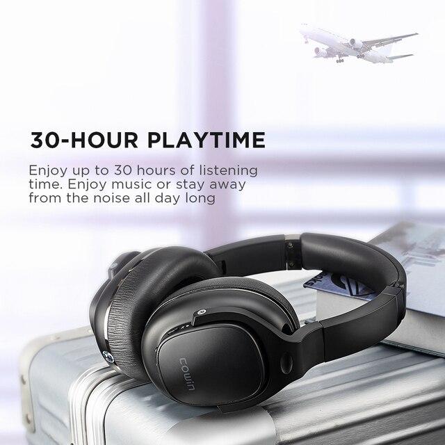Cowin e9 active noise cancelling fones de ouvido bluetooth sem fio fone sobre a orelha com microfone aptx hd som 5
