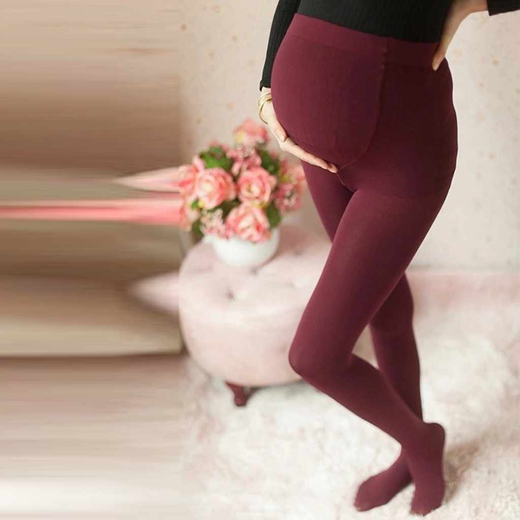 women pregnant pants elastic maternity leggings Woman Leisure High Waist Trousers Silk Stockings Pants #C