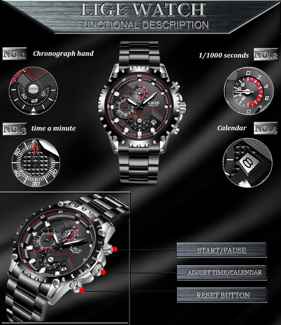 H0b556e8ea97f4c8c8b0ef9ed354af85e1 LIGE Top Brand Luxury Mens Fashion Watch Men Sport Waterproof Quartz Watches Men All Steel Army Military Watch Relogio Masculino