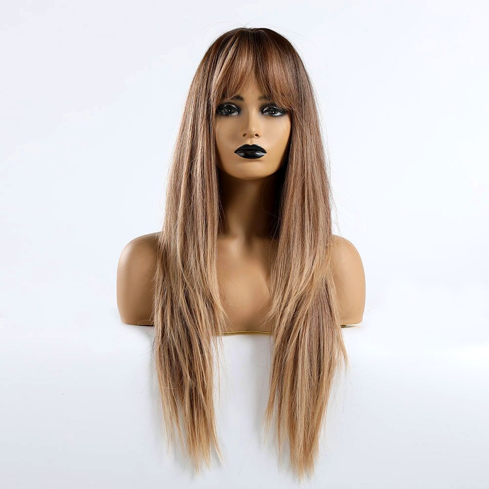 TINY LANA Natural Long Straight Wigs With Bangs Heat Resistant Synthetic Hair Ombre Black Brown Blonde Golden Wigs For Women