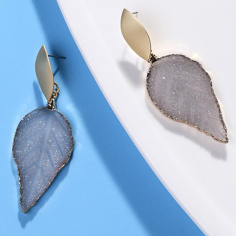 HOCOLE New Green Resin Stone Chandelier Drop Earrings For Women Bohe Fashion Gold Metal Sequin Pierce Leaf Earring Jewelry 2019