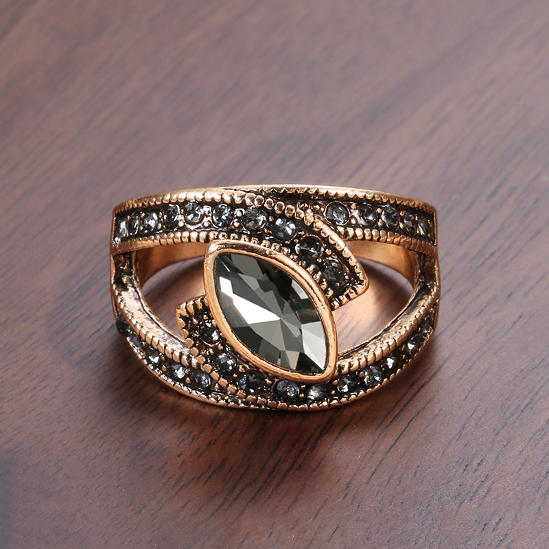 Kinel Boho Ethnic Bride Wedding Crystal Ring Antique Gold Color Big Zircon Stone Rings For Women Vintage Wedding Jewelry