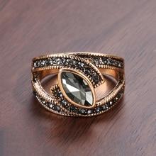 Kinel Boho Ethnic Bride Wedding Crystal Ring Antique Gold Color Big Zircon Stone Rings For Women Vintage Wedding Jewelry
