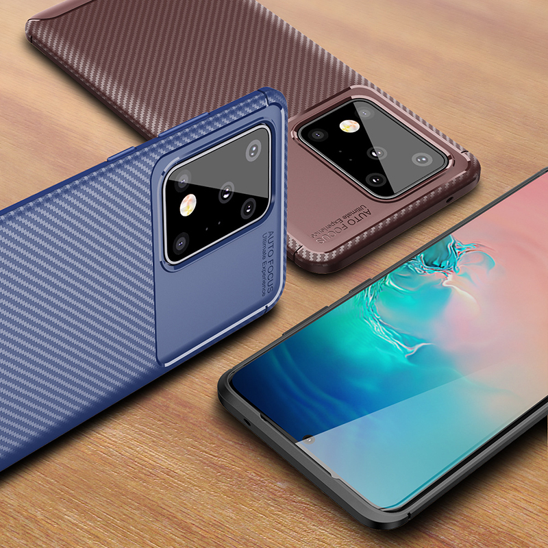 Ikrsses Case For Samsung Galaxy S20 Plus 5G Luxury Carbon Fiber Ultra Thin Silicone Soft TPU Case for Galaxy S20 Ultra 5G Cover