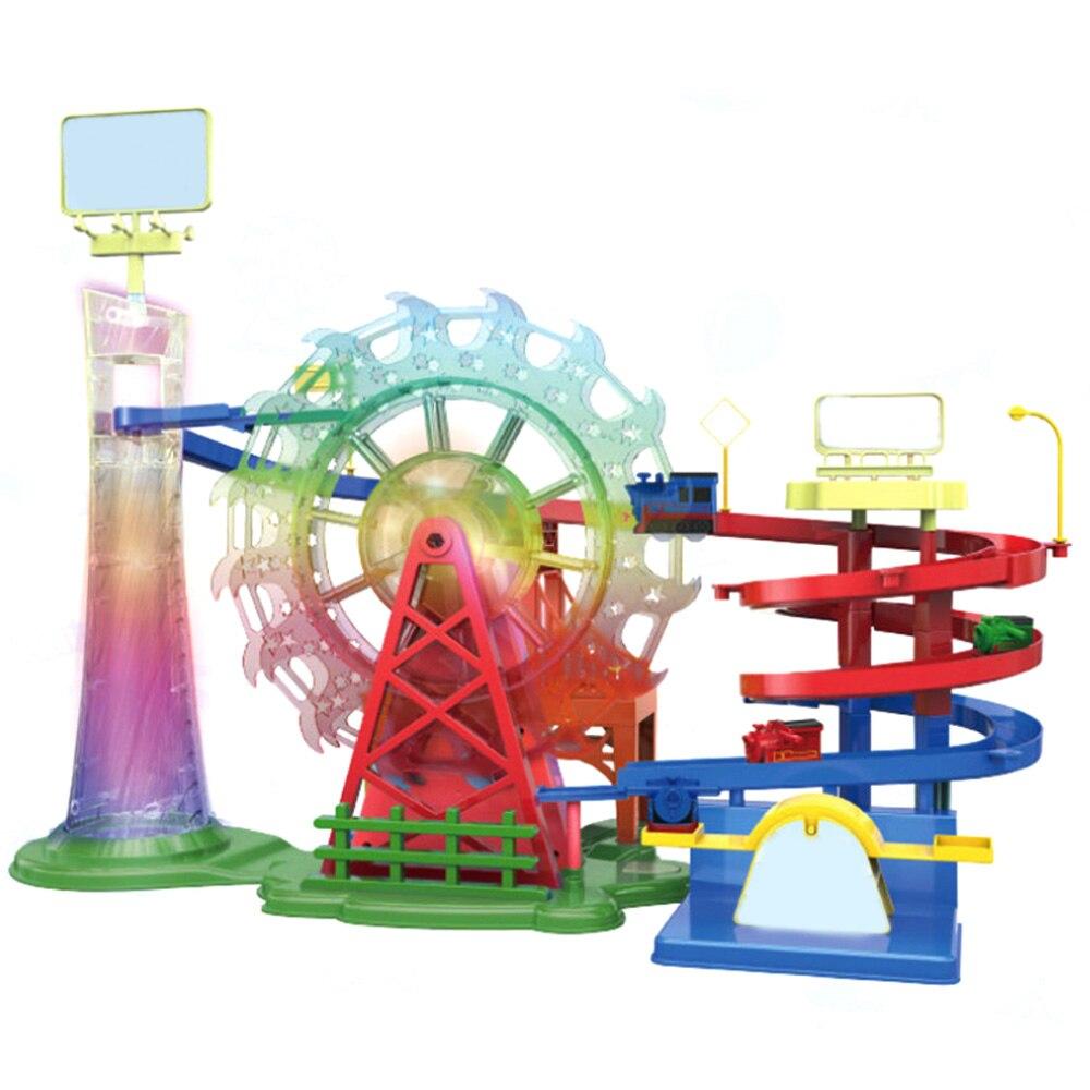 Enfants Macarons voiture points de contrôle aventure Rail voiture jouet enfants éducatifs grande roue véhicule Musical jouets cadeau avec lumière
