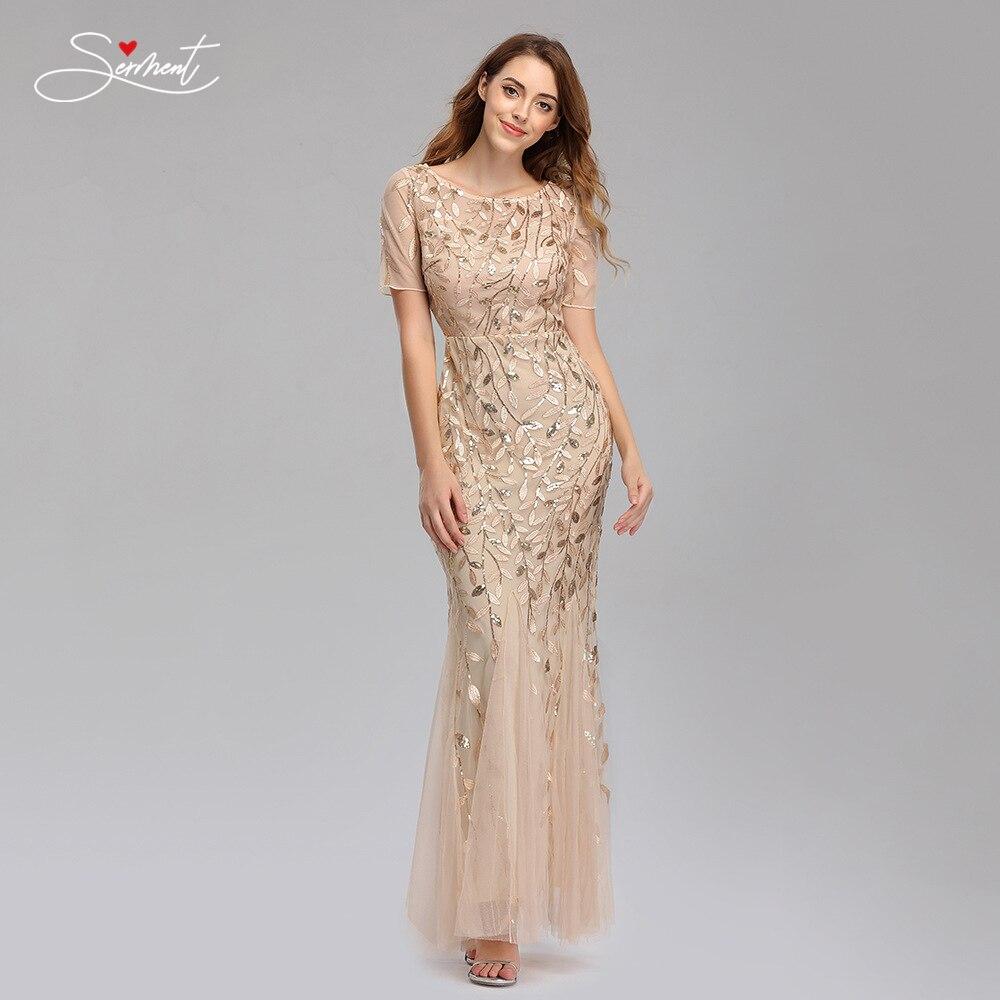 Vintage Sequin Mesh Fishtail Slim Evening Dress Short Sleeve Willow Branch pattern Straight Mermaid Dress