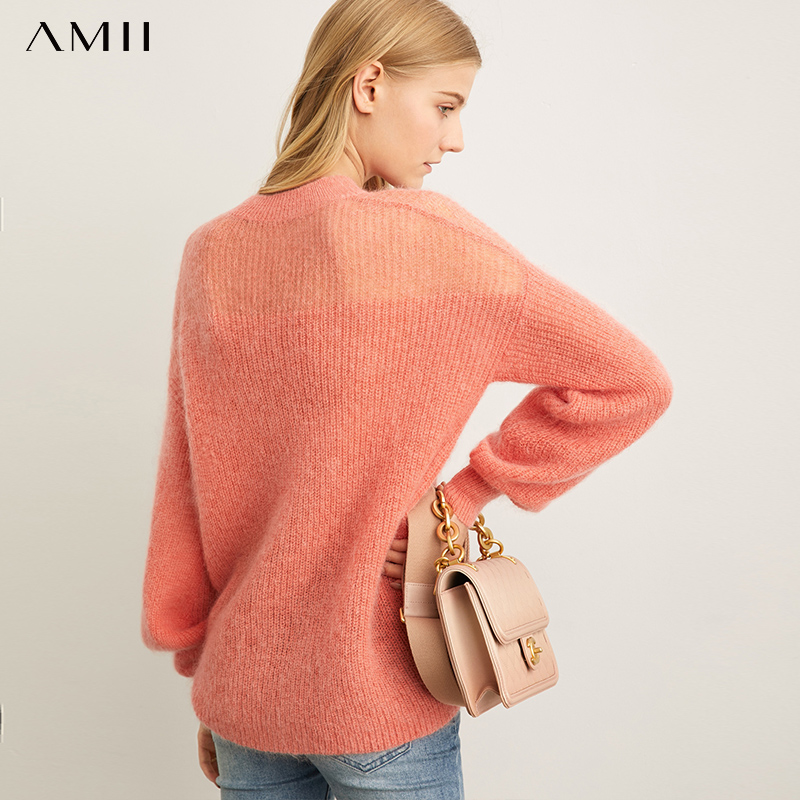 Amii Minimalist Knitted Sweater Autumn Women Casual Solid Round Neck Loose Female Pullover Tops 11940187