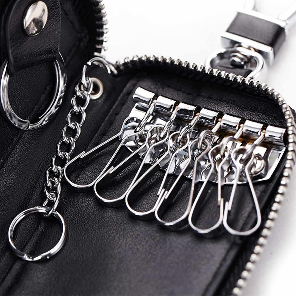 Baru Kedatangan Asli PU Tas Dompet Koin Ritsleting Ganda Kunci Dompet Fashion Wanita Pembantu Rumah Tangga Kartu Kunci