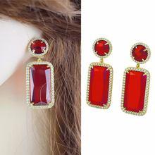 New color crystal geometric metal earrings women's jewelry gift high quality AAA zircon earrings accessories
