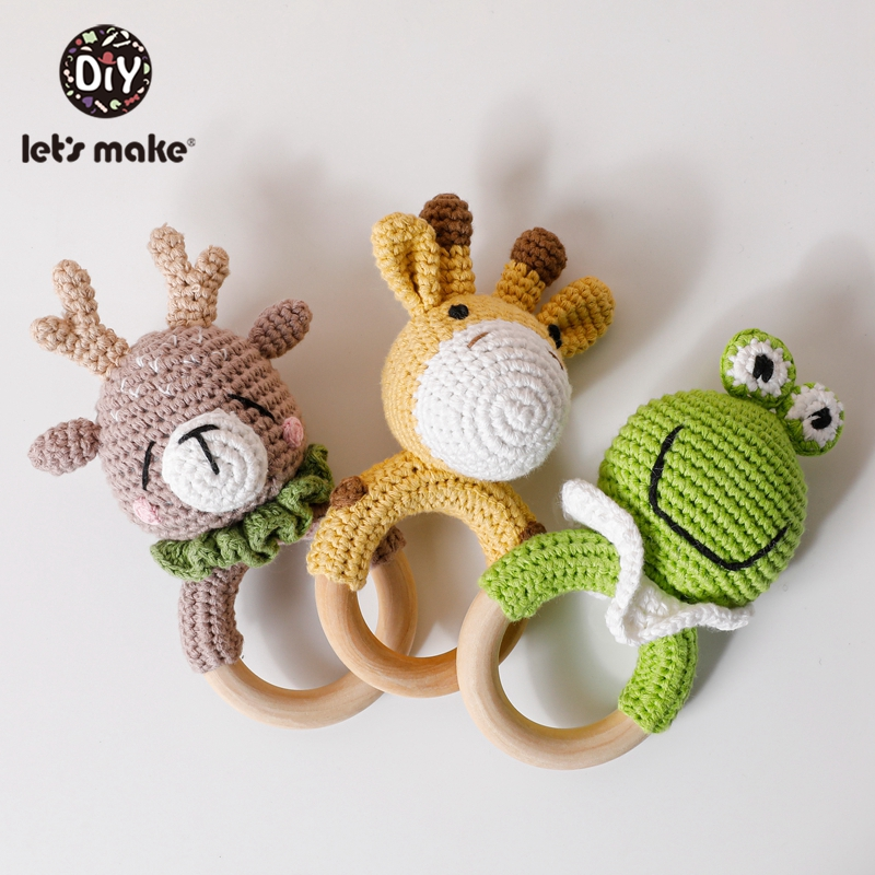 Let's Make 1pc Baby Rattle Crochet Pattern With Bell Baby Toys Early Educational Teething Rattle Amigurumi Kids Baby Bed Toys