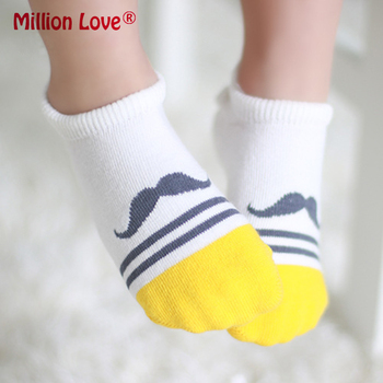 Baby newborn boy girl Cotton boat socks cloud moustache heart love socks for 0-2 years old image