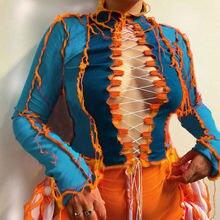 Женская футболка с длинным рукавом и круглым вырезом разрезом