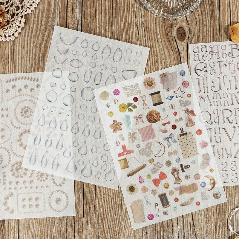 1Sheet Kawaii Drop Stickers Cute Decor Stationery Stickers Paper Adhesive Sticker For Kids Scrapbooking Diary Supplies