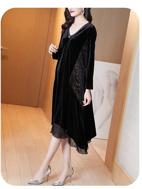 Elegant Women Vintage Casual Black Maxi Dresses 2021 Autumn Winter 5XL Plus Size Long Sleeve Midi Dress Bodycon Party Vestidos 5