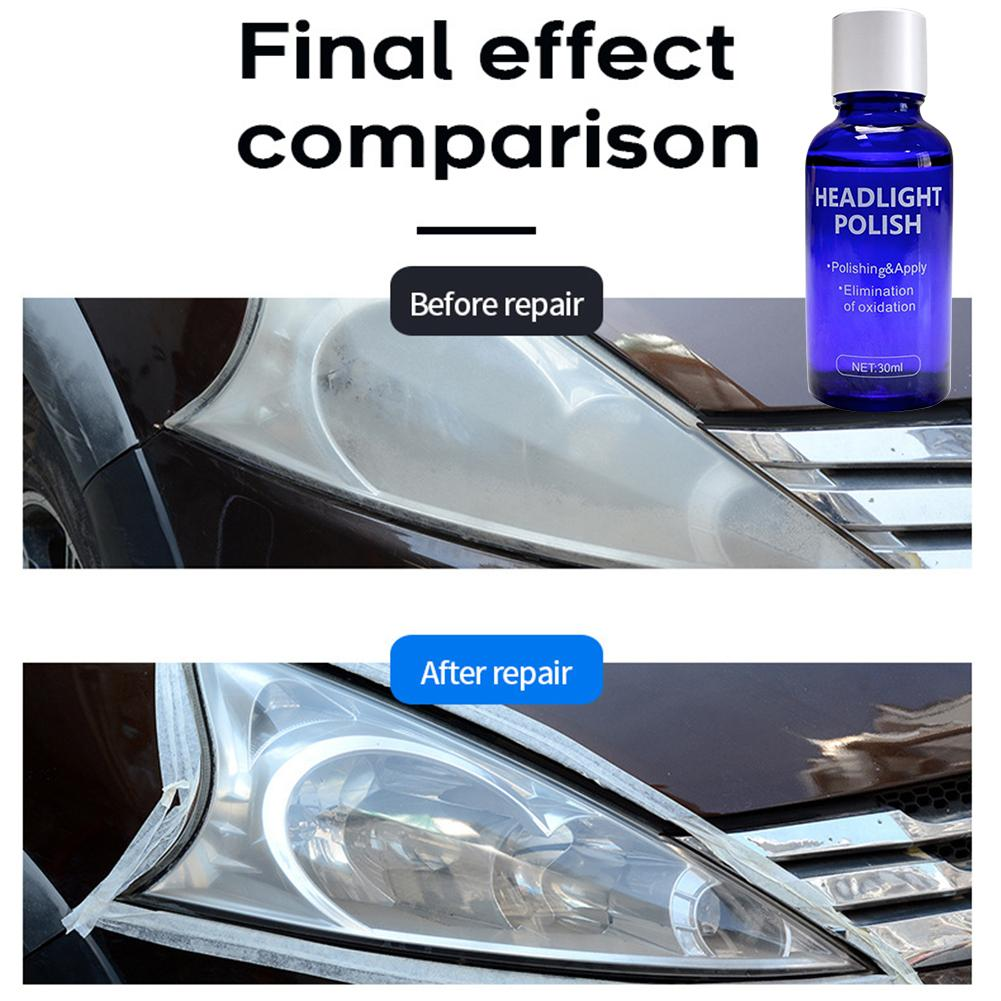 10/30ml Car Headlight Polish Scratch Swirl Oxidation Remover Repair Agent Repair Agent Care Gloves Sandpaper Sponge Wipe Rag Kit|Grinding Polishing Paste & Liquid|   - title=