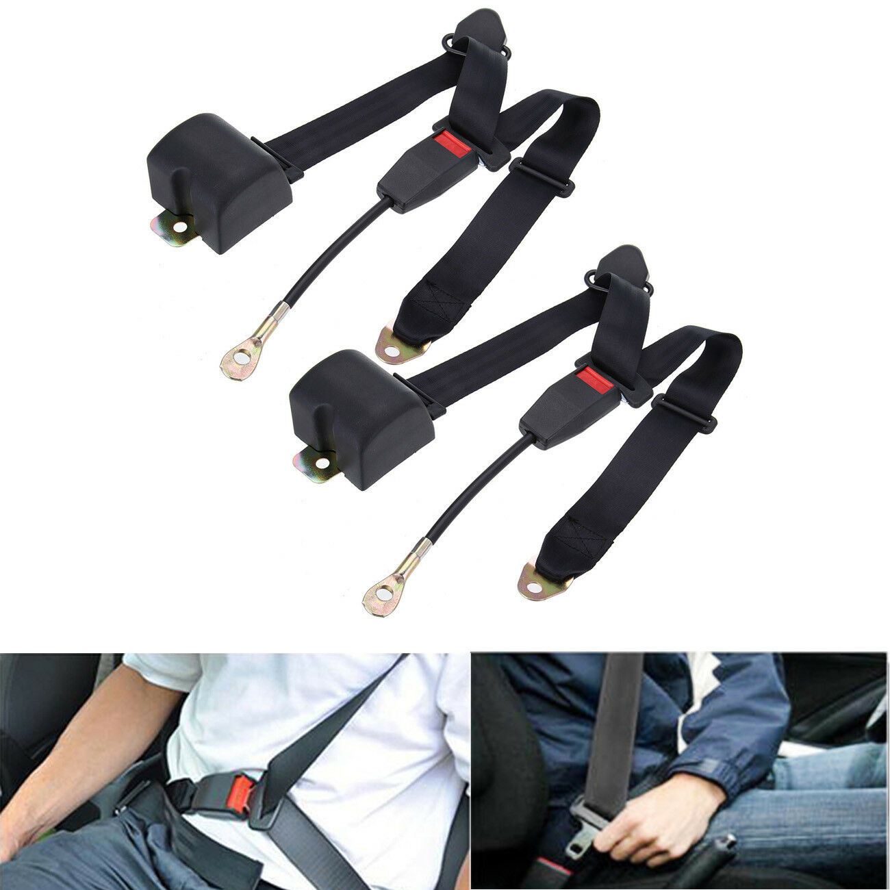>Samger 2pcs <font><b>Car</b></font> Safety Adjustable <font><b>Seat</b></font> Belt Clip Extender Belts Universal Seatbelt 3 Point Automatic Belt Safety Belt 300mm