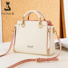 FOXER 2021 Women Fashion Cow Leather Handbag Top Handle Purse Commute Crossbody Bag Elegant Ladies Shoulder Bag Female Totes