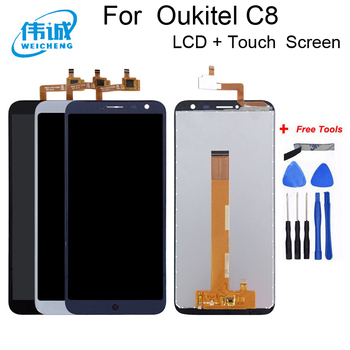 цена на WEICHENG 1280*640 For Oukitel C8 LCD Display+Touch Screen Screen Digitizer Assembly Repair Parts+Tools LCD Glass Panel