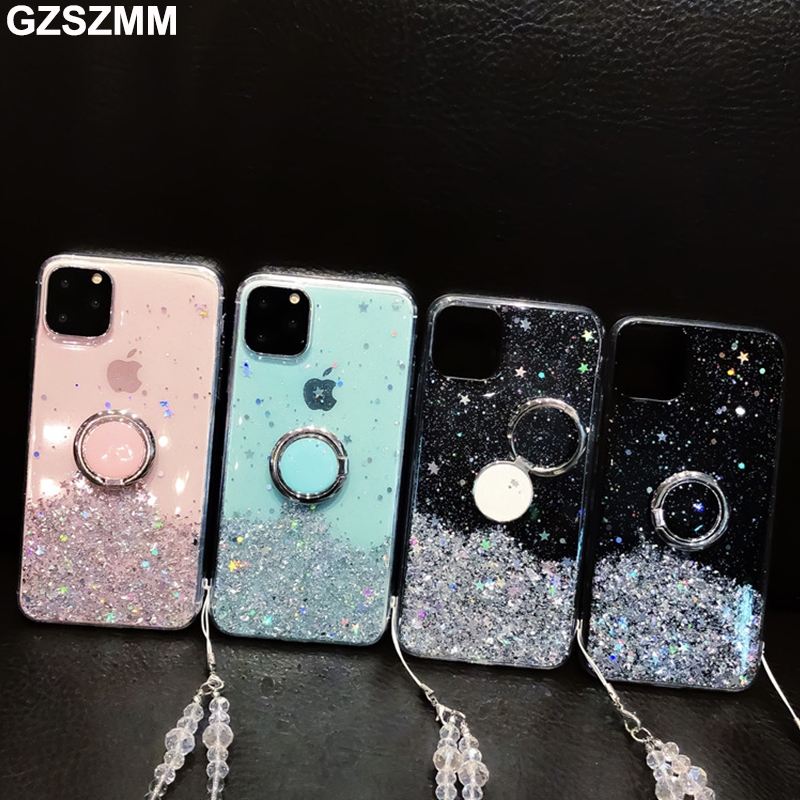 Glitter Phone <font><b>Cases</b></font> for Samsung Galaxy S10 S9 S8 Plus <font><b>Note</b></font> 10 Plus <font><b>9</b></font> 8 <font><b>Case</b></font> <font><b>with</b></font> <font><b>Ring</b></font>& Strap Transparent Drop Glue Cover Etui image