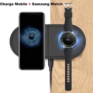 Image 2 - 2 In 1 Fast Wireless Charger PadสำหรับSamsung Galaxy BudsนาฬิกาActive Gear S3 S4กีฬาโทรศัพท์มือถือQIไร้สายชาร์จ