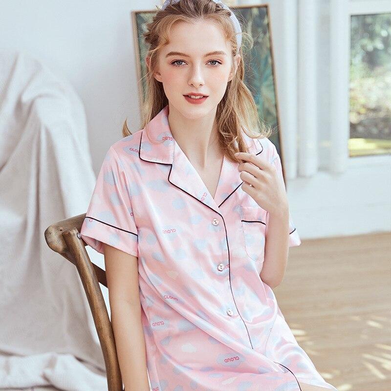Yao Ting Hot Selling Silk WOMEN'S Pajamas Spring And Summer Comfortable Nightgown Pajamas Tracksuit Sq1156
