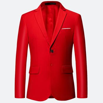 2019 nowa luksusowa klasyczna czerwony czarny męska blezery na co dzień babie lato moda marka luźne długi garnitur tanie i dobre opinie Lance Donovan REGULAR COTTON Poliester Pojedyncze piersi Pełna Blazers