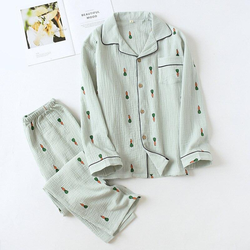 Cute Carrot 100% Crepe Cotton Sleepwear Men Pajamas Sets Two Piece Pyjamas Hombre Autumn Long-sleeve Male Pajamas Sets Pyjama