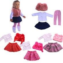 10 estilos boneca vestir conjunto = t-camisa + vestido + saia/calças para 18 Polegada american doll & 43 cm nascido bebê geração aniversário menina brinquedo presentes