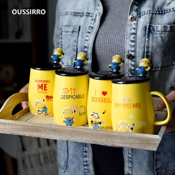 OUSSIRRO Super Hero Children Minions Infinity Ceramics Mug Pure Color Thermos Mugs Cup Kitchen Tool Gift donal skehan kitchen hero