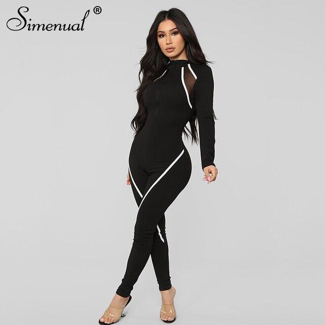 Simenual-mono deportivo informal para mujer, mono de manga larga con retazos, ropa de entrenamiento activa para otoño 2019 4