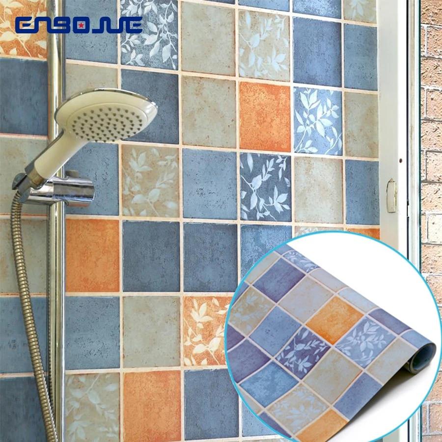 self adhesive bathroom tile waterproof wallpaper toilets moisture proof decorative film pvc kitchen stove oil proof wall sticker