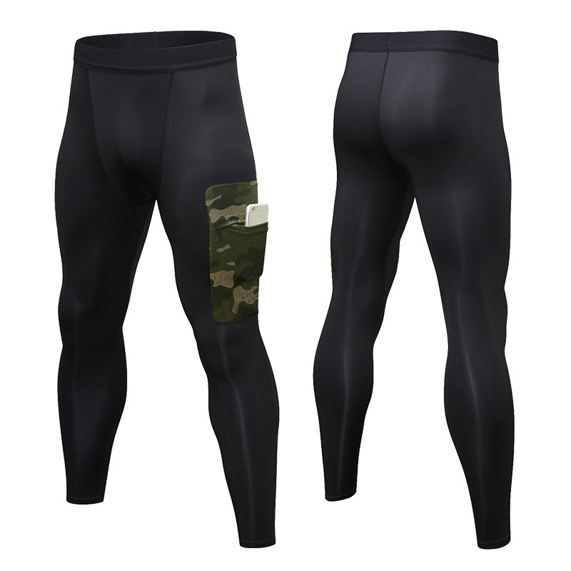Men's camouflage pocket exercise running tights for men's gym fitness training exercise jogging pants for men slim exercise pant