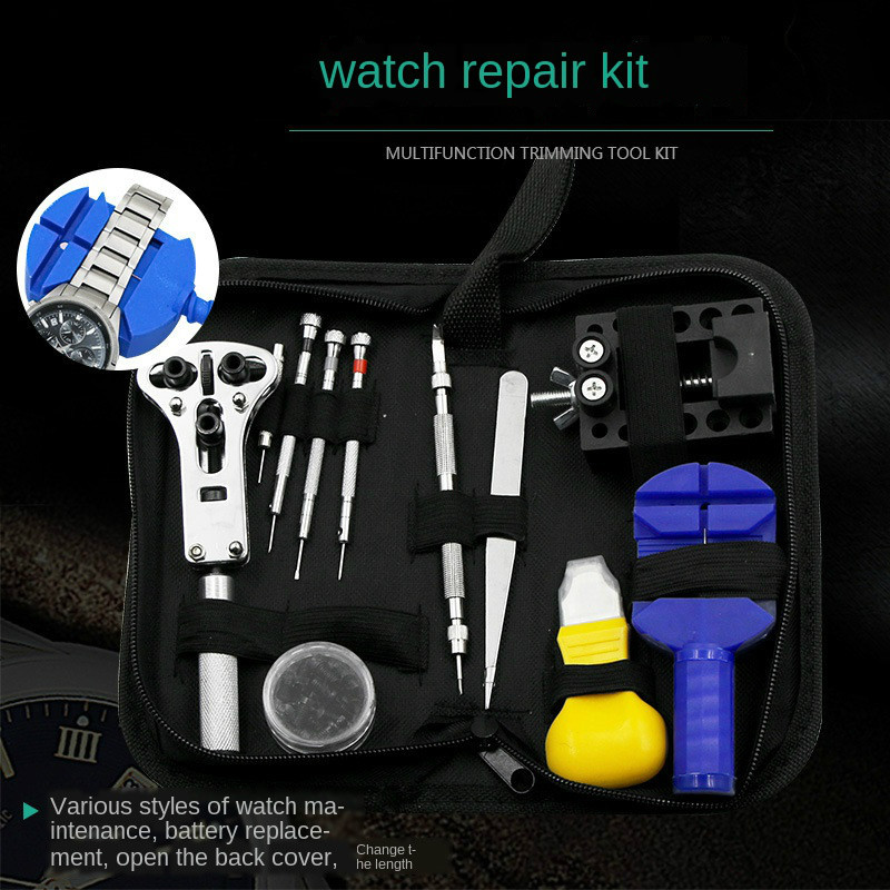 13pc Professional Watch Repair Tool Kit Watch Tools Including Watch Press Spring Bars Battery Replacement