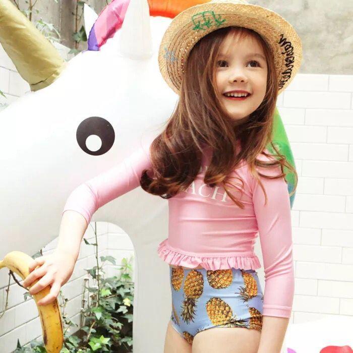 Korean-style Fashion Child CHILDREN'S Swimwear Split Long Sleeve Sun-resistant Japanese-style Sweet Triangular Girls Hot Springs