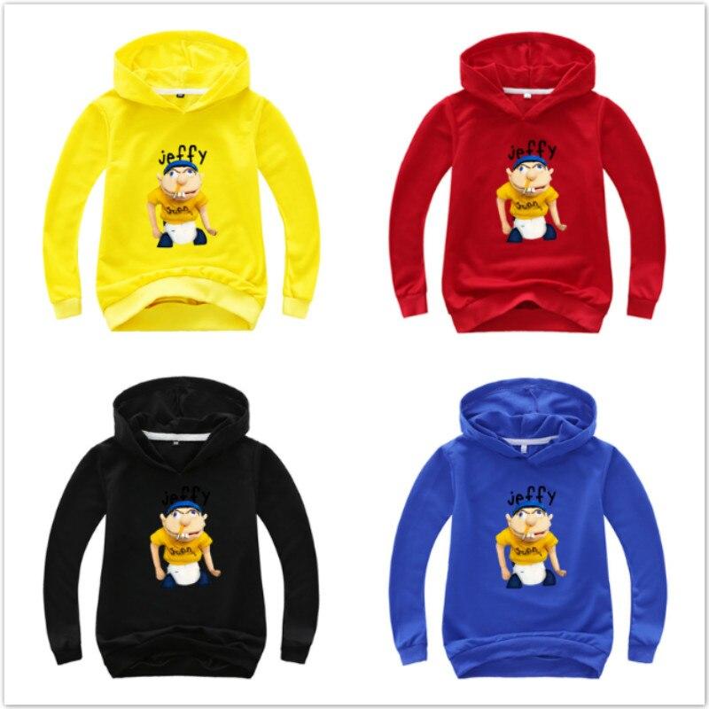 Children Long Sleeve T Shirts Funny Jeffy Youth Kids Hoodies Baby Boys Hoody Fashion Outwear Girl Sweatshirt Cotton Casual Coats