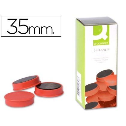 MAGNETS FOR CLIP STRIP Q-CONNECT IDEAL FOR Slates MAGNETICAS35 MM RED-10 'S BOX MAGNETS
