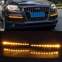 רכב מהבהב 1 זוג LED DRL דינמי צהוב הפעל אות בשעות היום ריצת אור ערפל מנורת לאאודי Q7 2010 2011 2012 2013 2014 2015