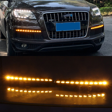 Car Flashing 1 Pair LED DRL Dynamic Yellow Turn Signal Daytime Running Light Fog Lamp For Audi Q7 2010 2011 2012 2013 2014 2015